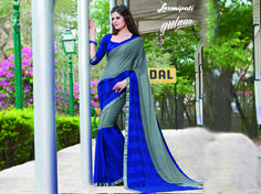 Explore this Awesome Grey & Blue Georgette Resham Work Saree along with Pashmina Blue Color Blouse from Laxmiapti Saree. Limited stock! 100% Genuine products! #Catalogue #GULNAR Price - Rs. 2231.00 Visit for more designs@ www.laxmipati.com #GaneshChaturthi #GaneshChaturthi2016 #Ganesh #Monsoon #Shopping