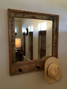 Beautiful barnwood Mirror with railroad spike hooks by mtwithlove