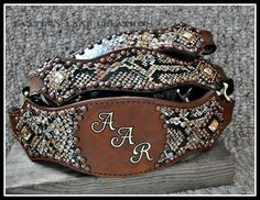 Custom halter, snake skin hide , personalized with intials