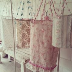 Bohemian Pastel Hanging Shades - from http://shabbychicgirls.blogspot.com/2013/03/my-latest-creation-bohemian-pastel.html?m=1