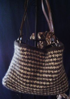 brown & white houndstooth felted purse