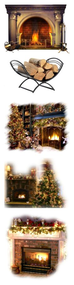 """""""fireplaces"""" by callmerose ❤ liked on Polyvore featuring fireplace, christmas, furniture, home decor, winter, home, fireplace accessories, shelterlogic, fireplace log holder and fireplace log rack"""
