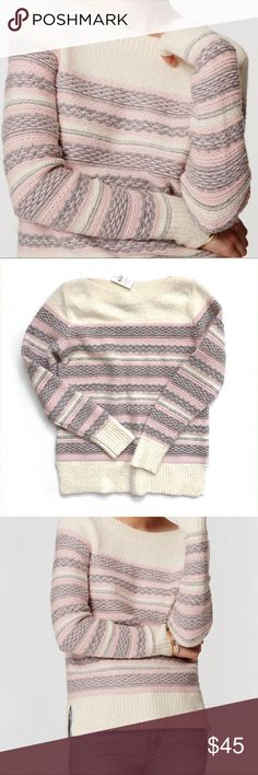 NWT LOFT Fairisle Striped Sweater Sz M NWT LOFT Fairisle Striped Sweater Sz M   🍍 NWT - never worn w/ tags 📸 Watermark photos are of the actual item you will receive   Fairisle stripes adorn this covetably cozy sweater with enchanting texture. Ribbed boatneck, cuffs and hem. Long sleeves. Side slits. 38% cotton 28% acrylic 19% nylon 10% Wool LOFT Sweaters Crew & Scoop Necks