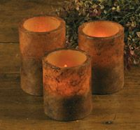 Grungy Cinnamon Battery Operated Pillar Candles in Three Sizes