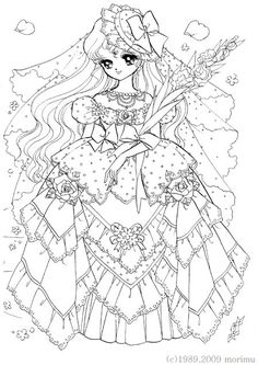Japan. Dream Girl. Lace dress. Free Coloring Page: