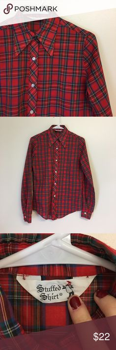 """Vintage 70's Plaid Button Down Shirt Vintage 1970's Red Plaid button down, perfect for fall!! Brand is """"Stuffed Shirt,"""" size small. Has some piling. Vintage Tops Button Down Shirts"""