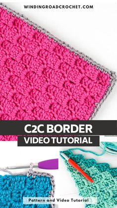 Learn how to add a single crochet border to your corner to corner crochet project by following this video tutorial. Crochet Stitches For Blankets, Knitting Patterns, Crochet Patterns, Corner To Corner Crochet, Crochet Borders, C2c, Crotchet, Single Crochet, Crochet Projects