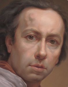 Anton Raphael Mengs (1728–1779 Rome) at 48, 1776  Mengs became the most important painter in Dresden, Rome, and Madrid in the third quarter of the eighteenth century. Whereas Mengs's portraits of prominent sitters are notable for their delicacy, meticulous detail, and refined beauty, his self-portraits are essays in truthfulness. The discolored swelling on his forehead is a physical defect visible from about 1760.