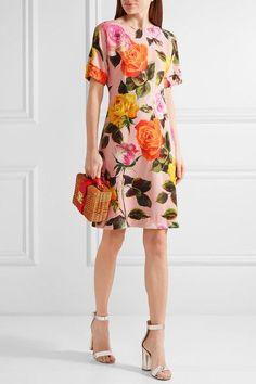 Dolce & Gabbana - Floral-print Cady Dress - Pastel pink - IT
