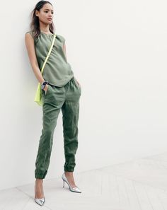 J.Crew women's textured honeycomb top, seaside pant, Parker crossbody bag and Elsie crackled metallic pumps.