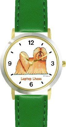Lhasa Apso Dog Cartoon or Comic - JP Animal - WATCHBUDDY® DELUXE TWO-TONE THEME WATCH - Arabic Numbers - Green Leather Strap-Size-Children's Size-Small ( Boy's Size & Girl's Size ) WatchBuddy. $49.95