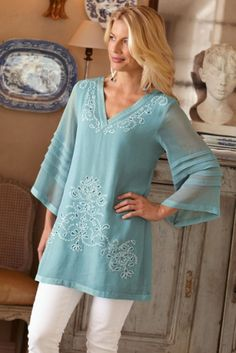 Esme Tunic - Cutwork Embroidery, Tunic Tops, Clothing | Soft Surroundings:
