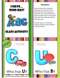 """Monday freebie from this blog.  An ABC """"I Have, Who Has"""" printable.  Enjoy!"""