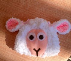 Baby sheep hat with pink bows on Etsy, $25.00