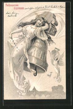 Alte Ansichtskarte: AK Fröhliche Ostern, Osterengel und Glocken, Jugendstil
