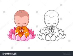 Little cartoon monk on the lotus. Page for coloring book. Vector illustration isolated on a white background. Buddha Drawing, Ganesha Drawing, Buddha Art, Baby Buddha, Little Buddha, Doodle Art, Traditional Japanese Tattoo Flash, Disney Coloring Pages, Coloring Book