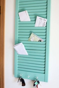 Shutter used as a mail & key holder idea from z 88.3 Orlando