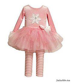 Bonnie Jean Baby 6 9 Months Pink Tutu Leggings SET Sparkle Snowflake FUR Trim   eBay