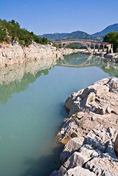 Gefyra Templas on Acheloos river, unites Evritania to Aitoloakarnania, Greece