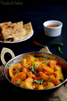 Tinda ki subzi or Tinday ki subzi is a very light summer Indian dish consisting of tindas (apple gourds) and a mild tempering of tomatoes and fresh herbs.