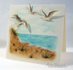 One Layer Beach Scene and Sea Birds by kittie747 - Cards and Paper Crafts at Splitcoaststampers
