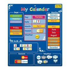 My Calender - Blue Magnetic Activities & Games Fiesta Crafts Kids Learning Toy
