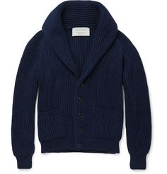 Maison Kitsuné - Shawl-Collar Wool Cardigan MR PORTER  Oh, my goodness... Look at the deep, rich blue on this thing. And the shawl collar! Ohhhh man....