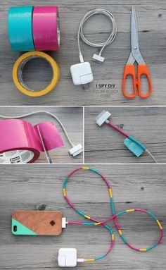 Personalizar los cargadores de tus gadgets es muy fácil y el resultado es de lo más colorido y original :) #diy #handmade #gadget