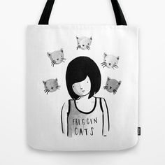 Friggin' Cats Tote Bag by olivia mew - $22.00