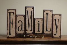 Burlap Family blocks Rustic Home Decor Custom Family Wood (Primitive Halloween Decorao) Inexpensive Home Decor, Unique Home Decor, Home Decor Items, Home Decor Accessories, Cheap Home Decor, Diy Home Decor, Room Decor, Wood Block Crafts, Wood Blocks