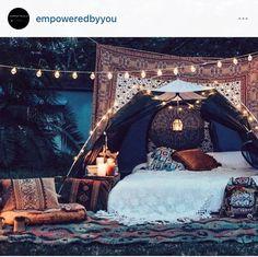 Air mattress under a tent in the backyard