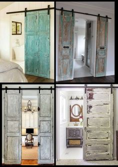 Vintage door, vintage doors, barn door, barn doors found by Foo Foo La La - bedroom furniture master Door Design, House Design, Exterior Design, Teenage Room Decor, Inside Barn Doors, Vintage Doors, Vintage Door Decor, Antique Doors, Wardrobe Doors