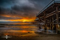 Evgeny Yorobe Photography  -   Last Night's cloudy sunset at Crystal Pier in Pacific beach, California. 2/10/14