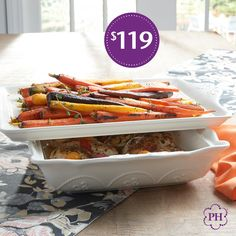 Serve classic style from #OvenToTable with this beautiful #bakeware set. Set includes a 4-qt. rectangular #baker and platter that doubles as a storage lid.