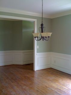 Sherwin Williams Softened Green and Dover White.for the living room? Green Dining Room Paint, Dining Room Colors, Dining Room Walls, Dining Room Design, Interior Design Living Room, Kitchen Colors, Paint Colors For Home, House Colors, Blue Wall Decor