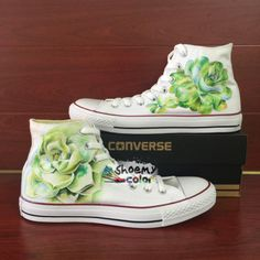 Converse Shoes Succulent Hand Painted White Canvas Sneakers for Women