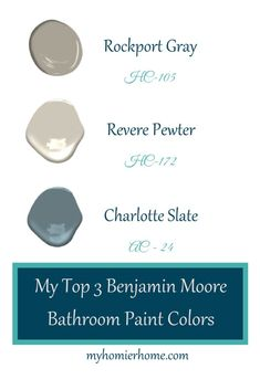 My Top 3 Benjamin Moore Bathroom Paint Colors Picking paint colors can be a daunting task. Of the hundreds of colors found in the store, what if you could have an already narrow list before entering? These 3 Benjamin Moore gray-ish paint colors are my abs Benjamin Moore Bathroom, Benjamin Moore Gray, Bathroom Paint Colors, Interior Paint Colors, Interior Design, Blue Living Room Sets, Split Complementary Colors, Colours That Go Together, Dark Paint Colors