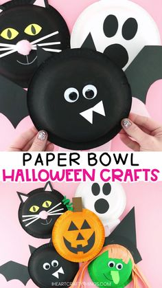 5 Fun and Easy Halloween Craft Ideas for Kids -Free Templates! Simple Halloween craft ideas for kids! Learn how to make a bat craft, witch craft, black cat craft, ghost craft and Jack-o-Lantern craft with a paper bowl and some creativity! Halloween Decorations For Kids, Halloween Arts And Crafts, Halloween Crafts For Toddlers, Fall Crafts For Kids, Halloween Diy, Kids Crafts, Halloween Crafts Kindergarten, Easy Crafts, Craft Projects