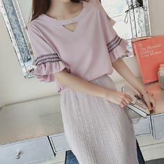 2017 Summer New Korean Style Blouses Women Loose Chiffon Shirt  Short Sleeve Chiffon Blouses Shirts Female Sweet Tops Plus Size