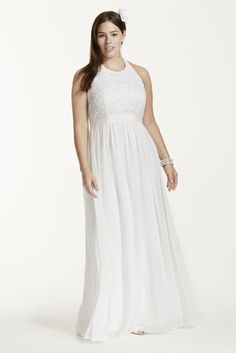 Chiffon A-line with Lace Plus Size Halter Top Style 9SDWG0140