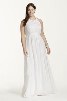 Wedding Dress Chiffon A-line with Lace Plus Size Halter Top - White, 16W