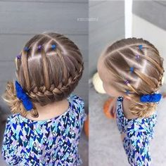 Loving today's style! I started with triangular part-lines and sectioned it into small ponies. Then I did a french braid wrapped around to a low side messy bun!