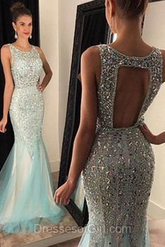 Mermaid Prom Dresses, Sparkling Prom Dress, Tulle Evening Dresses, Open Back Party Dresses, Beaded Formal Dresses