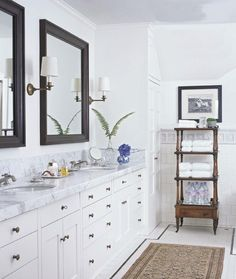 Interior. white eased profile marble top on long white polished wooden bathroom vanity cabinet with many drawers under black wooden frame wall mirrors. Enchanting Carrera Marble Countertops