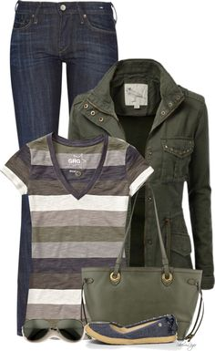 Casual Striped Tee with Military Jacket Outfit
