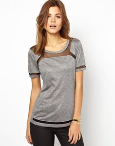Karen Millen T-Shirt with Mesh Insert