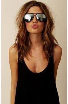 I love the length, cut, and style of her hair. Maybe one day. Hmm. A momma can wish. Medium length long layers by beet.sand