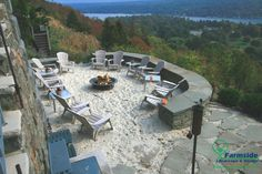 Full view of the beach style area with creative placement of an outdoor fire pit idea from Farmside Landscape & Design!