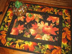 Apples and Pears Quilted Table Topper, Autumn Decor, Fall Table Topper…