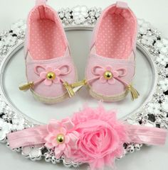 Baby Girl Crib Shoes and Headband Set, Newborn Baby Girl Shoes, Shower Gift, Gift for Baby, Baby Accessories by BabyLaylaLand on Etsy